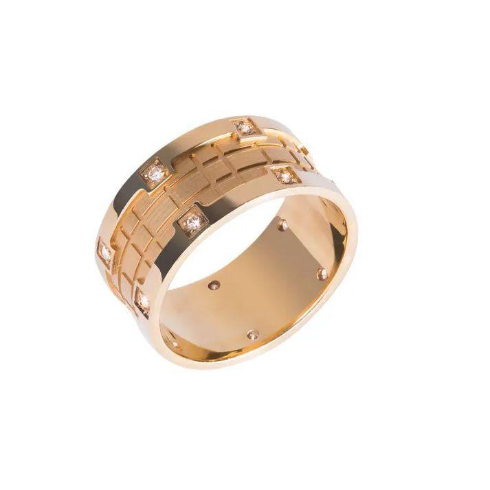 Aliança Coroa Reta em Ouro 18k com Detalhe Fosco e Diamantes