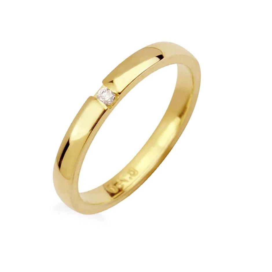 Aliança  Em Ouro 18k Com Diamante