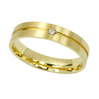 Aliança Fosca Anatômica Em Ouro 18k Com Diamante