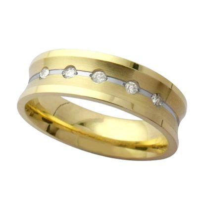 Aliança Em Ouro Funda 6MM Anatômica Com 5 Diamantes DE 1,5 Pontos 18K