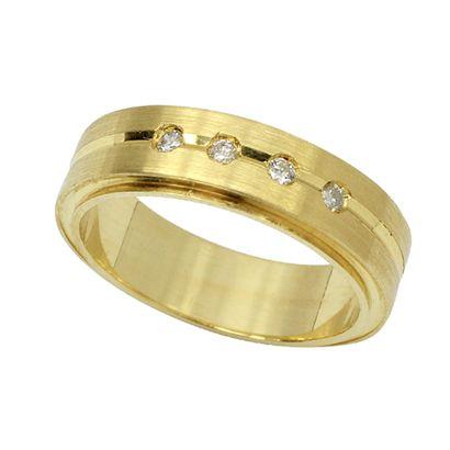 Aliança Anatômica em Ouro 18k com Diamantes