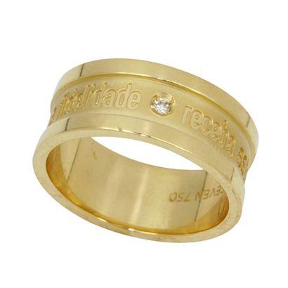 Aliança Sinal de Amor em Ouro 18k com Brilhante