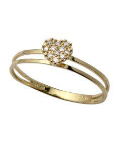 Anel Chuveiro Coracao Com 11 Diamantes 18K
