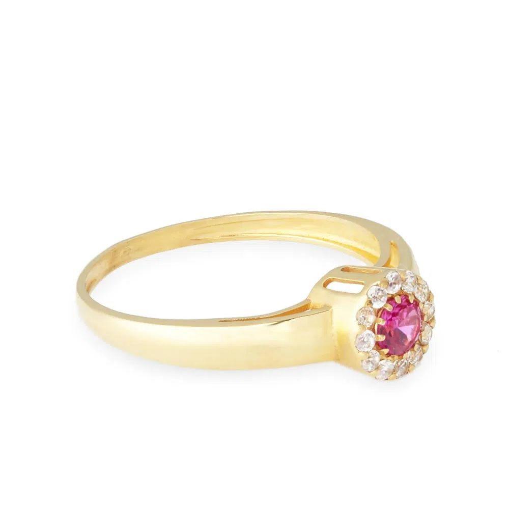 Anel Chuveiro em Ouro 18k com Rubi e Diamantes