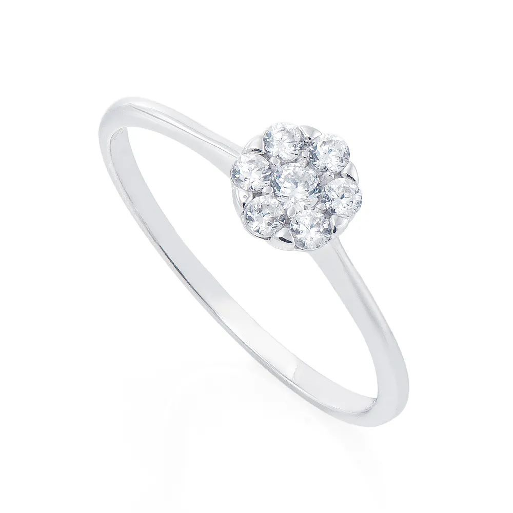 Anel Chuveiro em Ouro Branco 18k com Diamantes