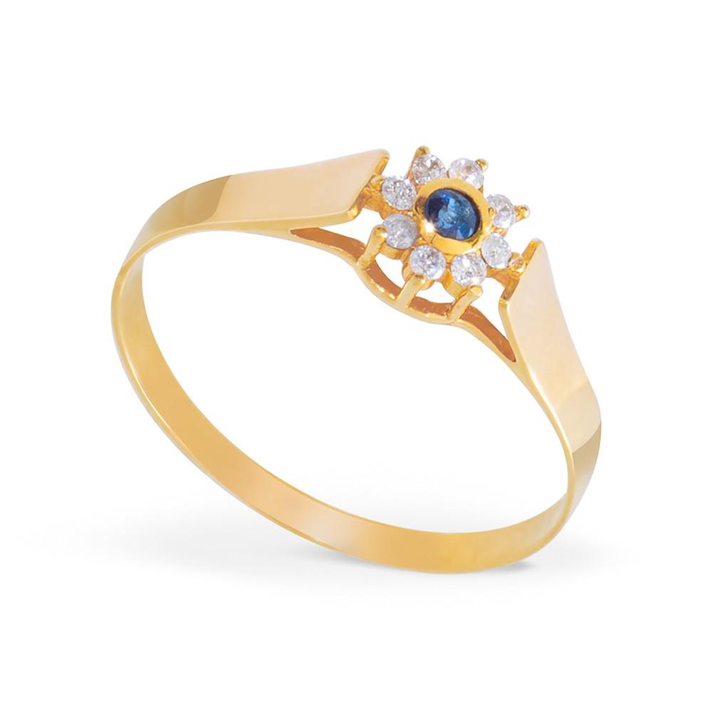 Anel Com Safira E Diamantes Em Ouro 18k