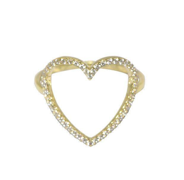 Anel  Coração em Ouro 18K com Zirconia