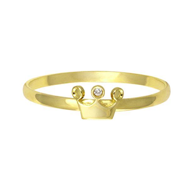 Anel Coroa em Ouro 18k com Zircônia