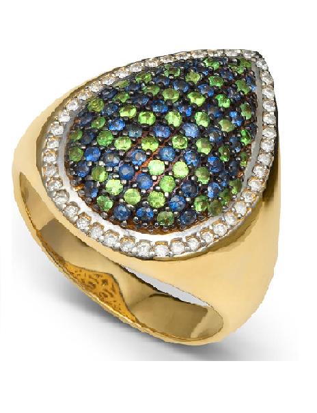 Anel Cravejado Com Diamante, Safira e Esmeralda Ouro 18k