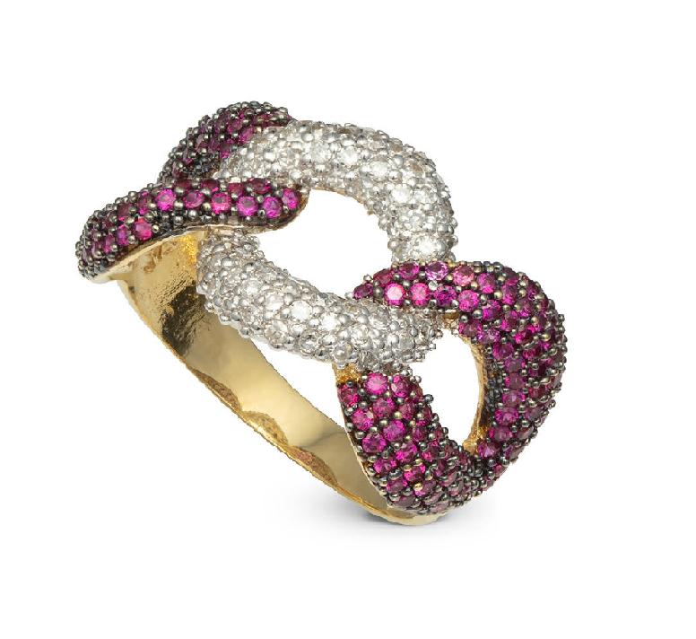 Anel Cravejado com Rubi e Diamante Ouro 18k