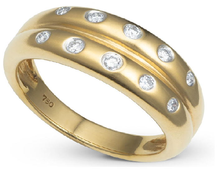Anel Duplo com 10 Diamantes Ouro 18k