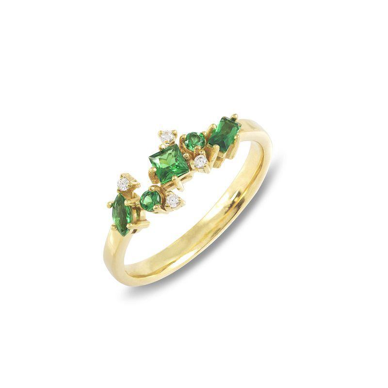 Anel  em Ouro 18k com Esmeraldas e Brilhantes