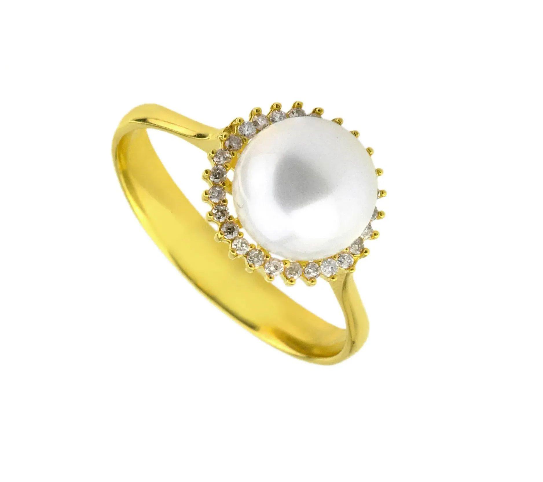 Anel em Ouro 18K Com Pérola e Diamantes