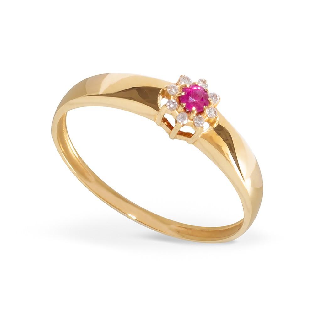Anel em Ouro 18k com Rubi e Diamantes