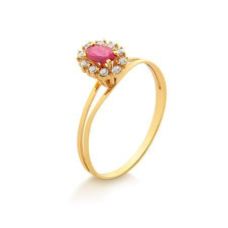 Anel Em Ouro Com Rubi e Diamantes 18K