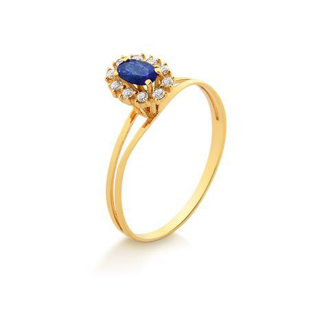Anel Em Ouro Com Safira e Diamantes 18K