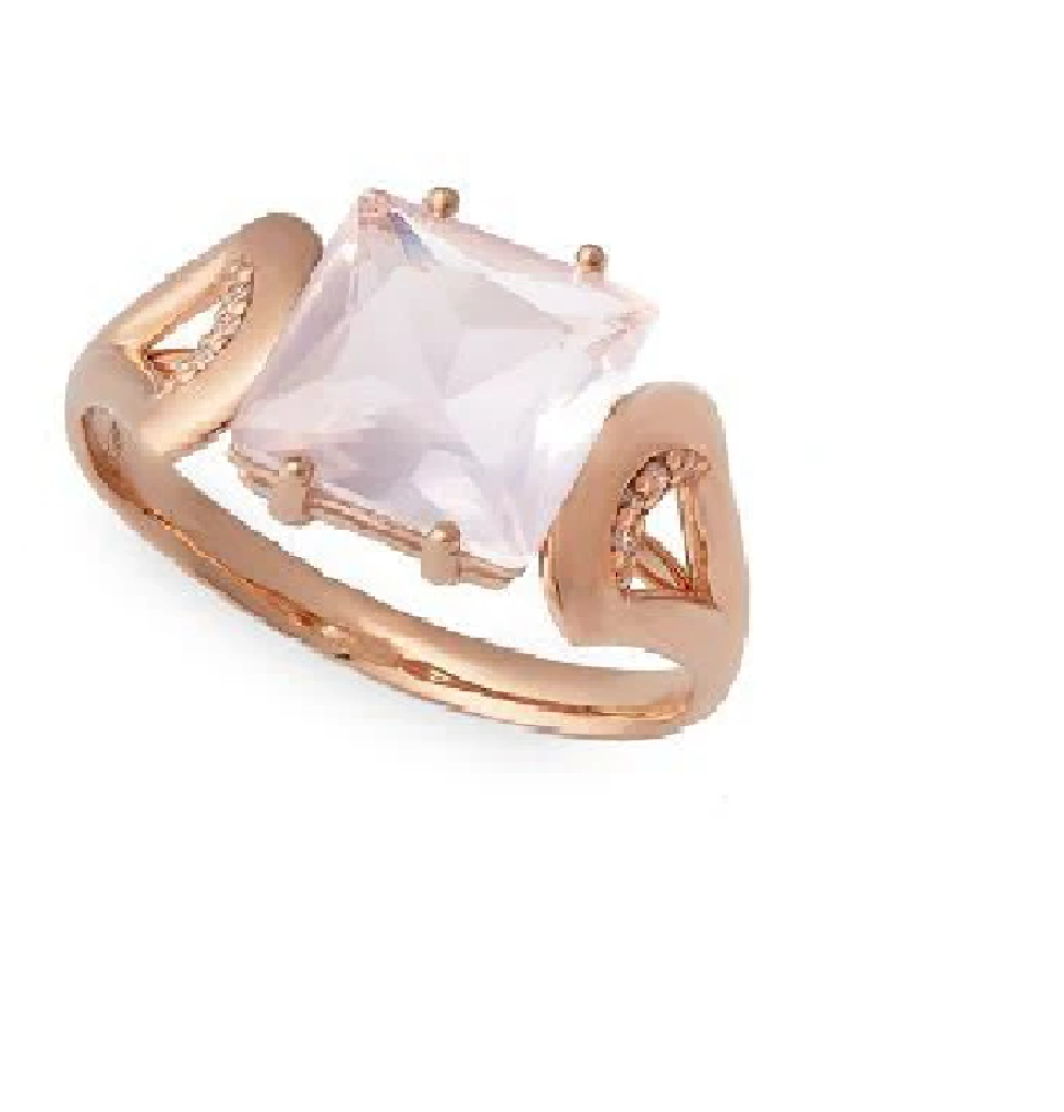 Anel em Ouro Rosé 18k com Quartzo Rosa e Diamantes