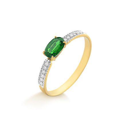 Anel Esmeralda e Diamantes 18K
