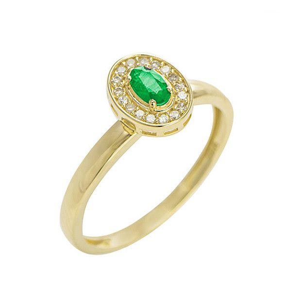 Anel Formatura Em Ouro 18k Com Esmeralda E Diamantes