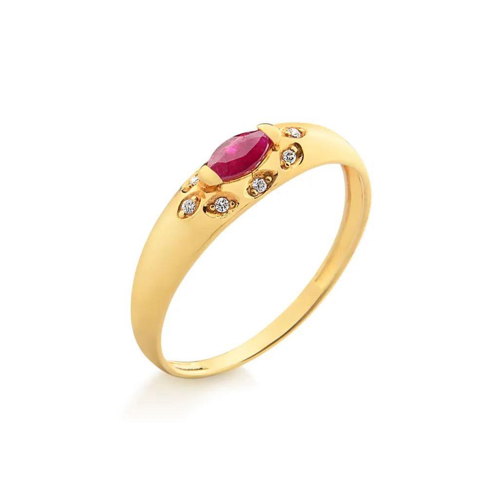 Anel Formatura em Ouro 18k com Rubi e Diamantes