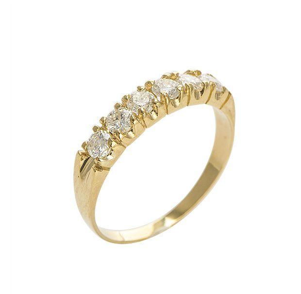 Anel Meia Aliança em Ouro 18k com Diamantes