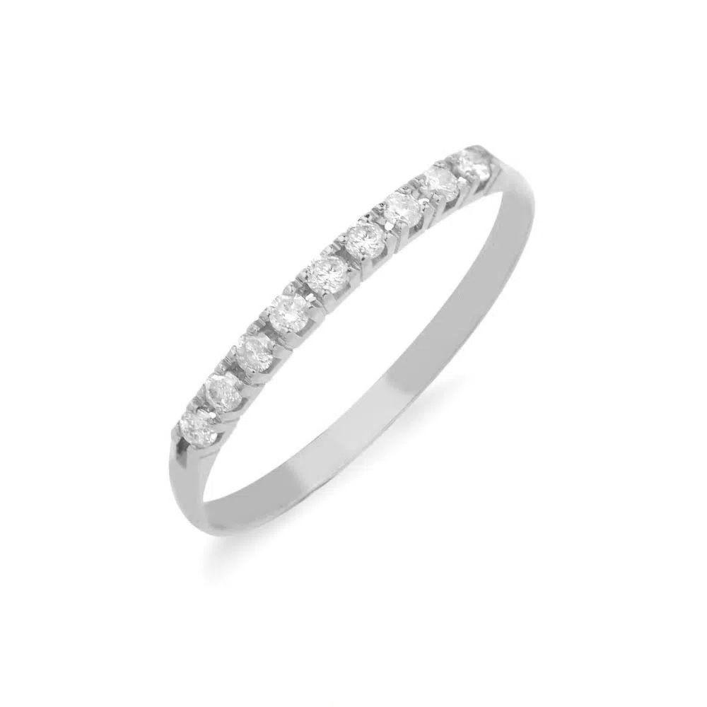 Anel Meia Aliança em Ouro Branco 18k com Diamantes