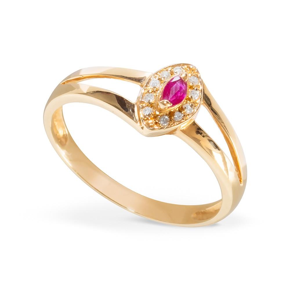 Anel Navete com Rubi e  Diamantes em Ouro 18k