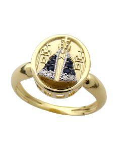 Anel Nossa Senhora em Ouro 18k com Safiras e Diamantes