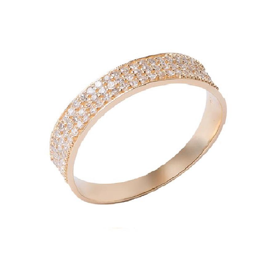 Anel Pave 3 Fileiras Com 75 Diamantes 18K