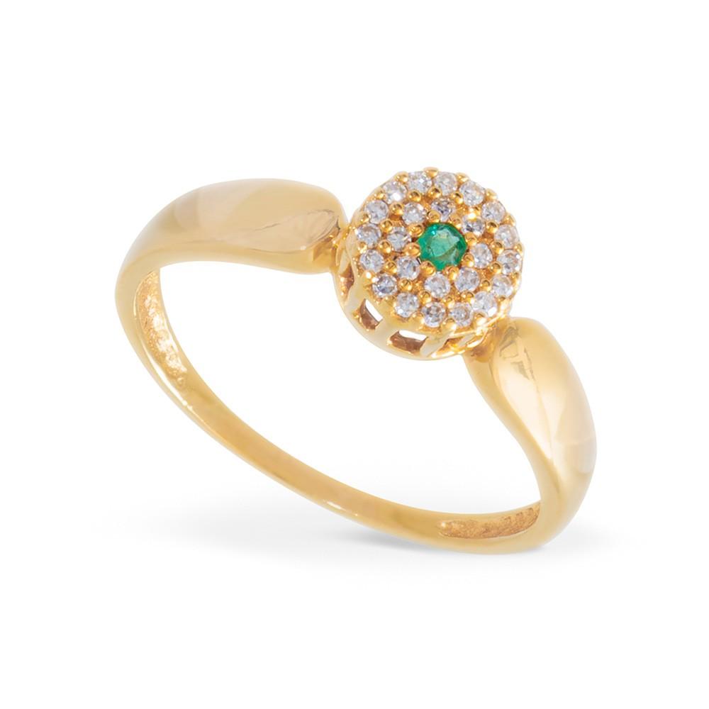 Anel Pavê com Esmeralda e Diamantes em Ouro 18k