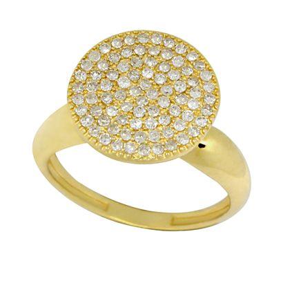 Anel Pavê Redondo com Diamante 18k
