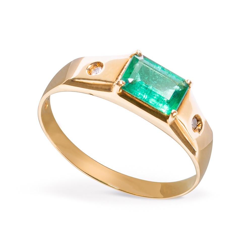 Anel Pedra Esmeralda com Diamantes Ouro 18k