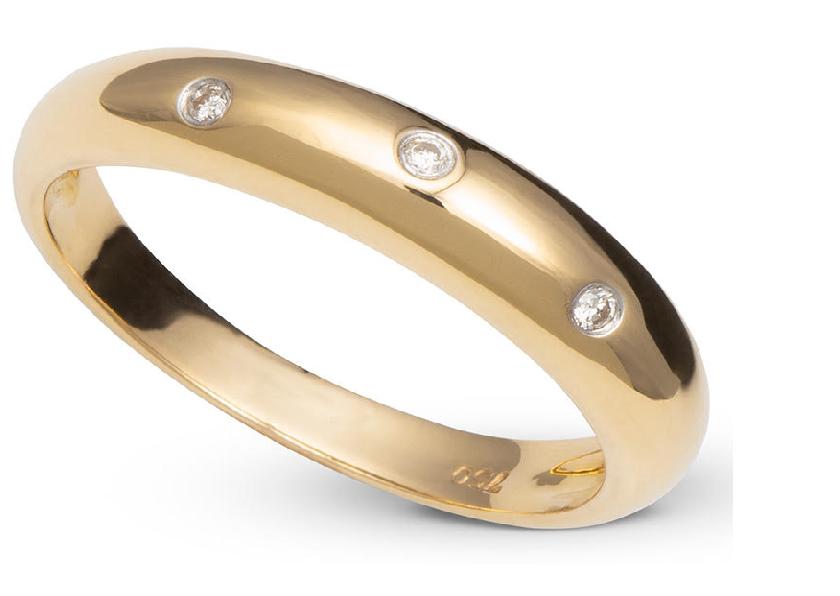 Anel Rosê com Três Diamantes Ouro 18k