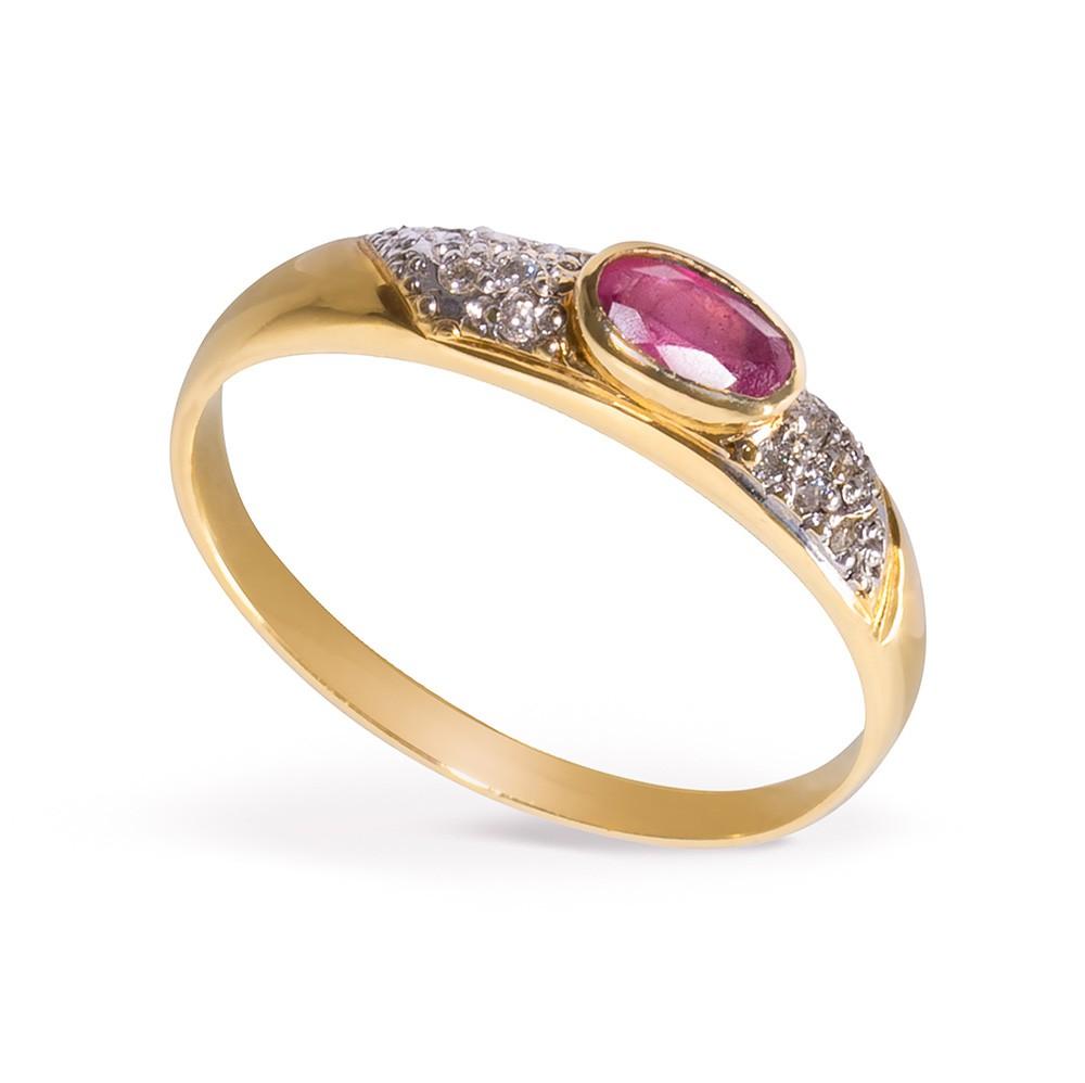 Anel Rubi com Diamantes em Ouro 18K