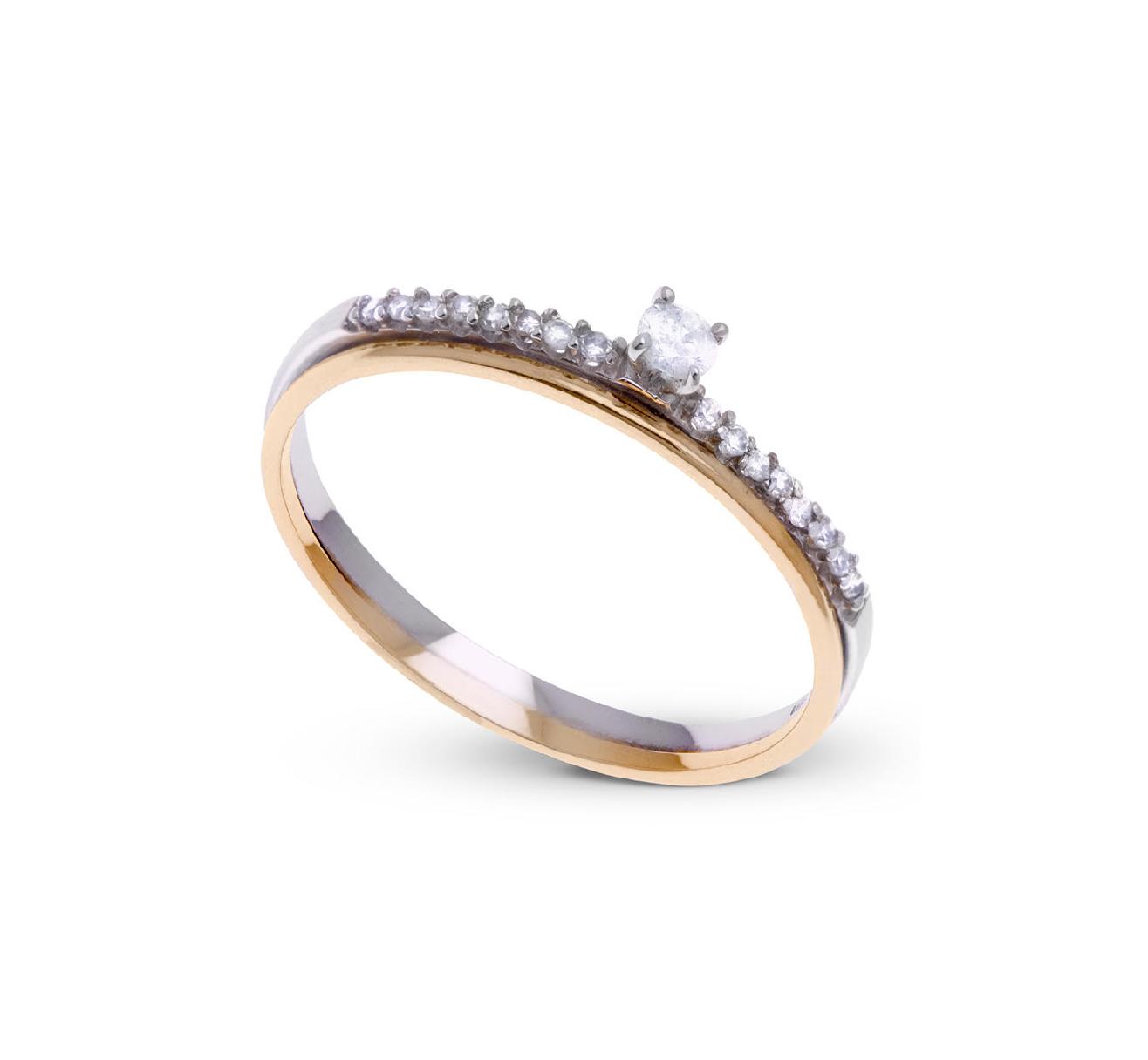 Anel Solitário com  1 Diamante 10 pontos Ouro 18K