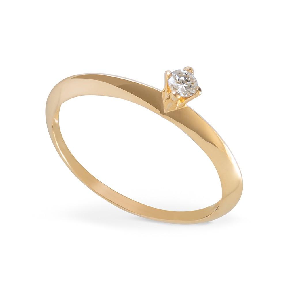 Anel Solitário com Diamante Ouro 18K