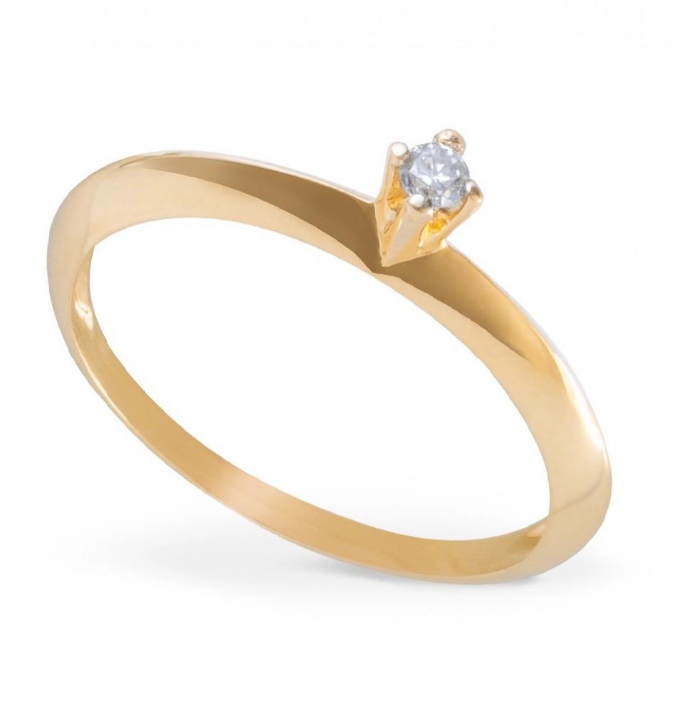 Anel Solitário Diamante Ouro 18k