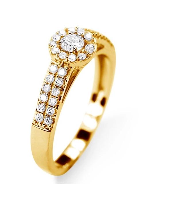 Anel Solitário em Ouro 18k com Diamantes