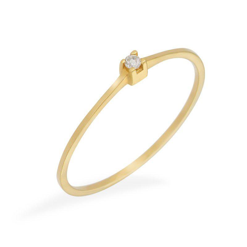 Anel Solitário com Diamante em Ouro de 18k