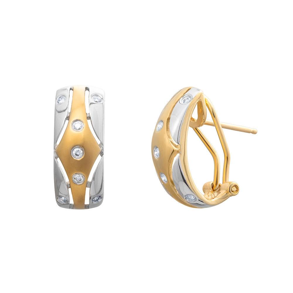 Brinco Argola Bicolor Com Diamantes Ouro 18k