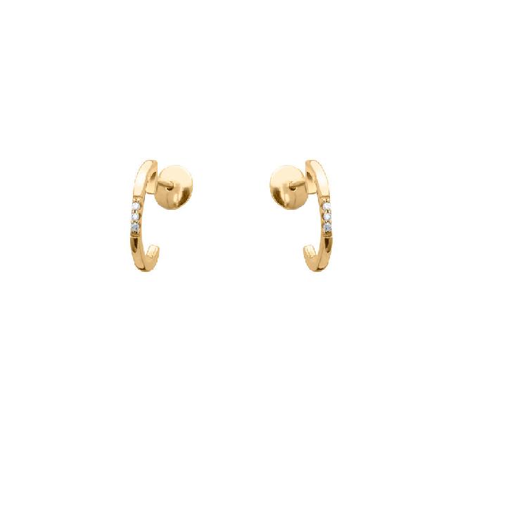 Brinco Argola  Com 6 Diamantes, Ouro 18k