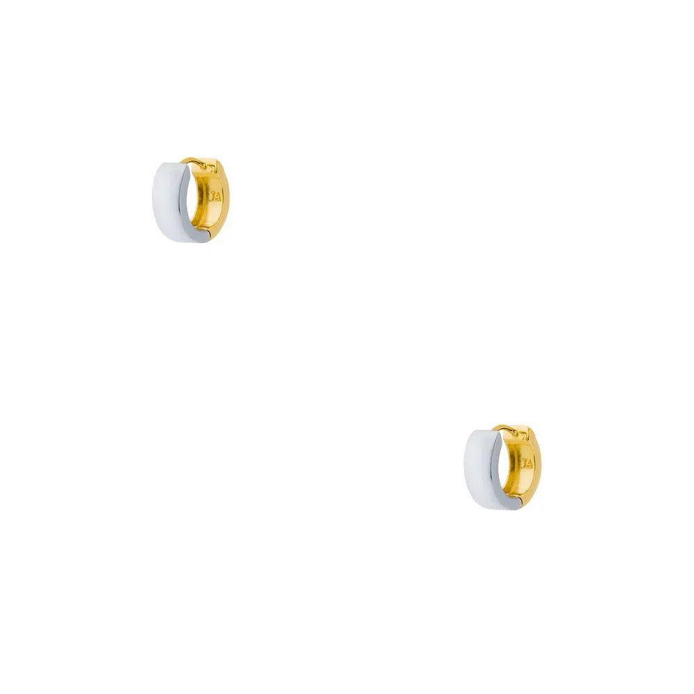 Brinco Argola em Ouro Amarelo e Ouro Branco 18k