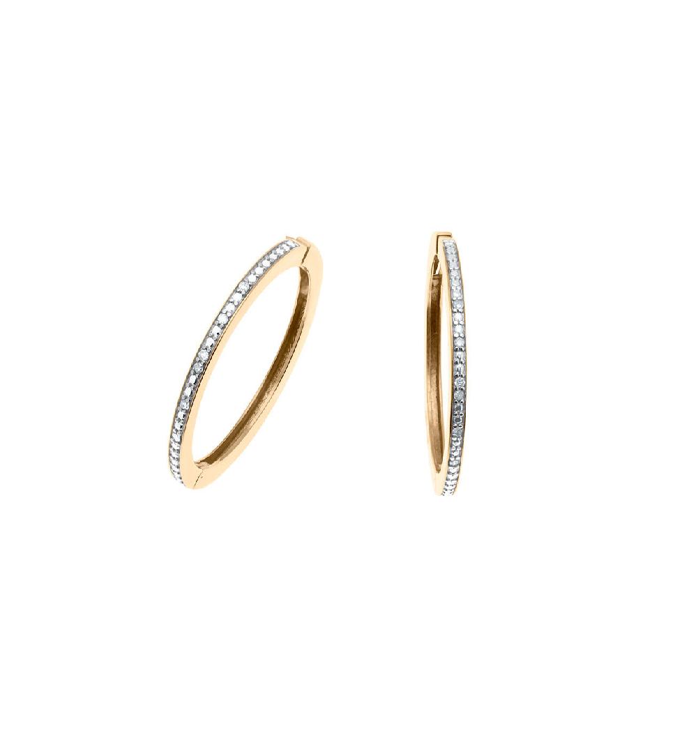 Brinco Argola  Meio Aro em Diamantes, Ouro 18k