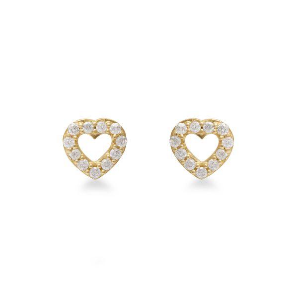 Brinco Coração em Ouro 18k com Diamantes