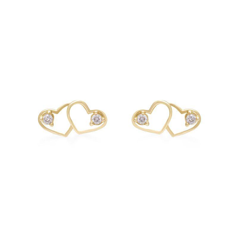 Brinco Coração Duplo em Ouro 18k com Diamantes