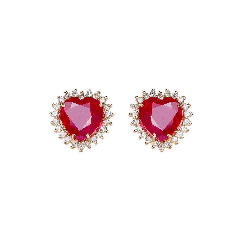 Brinco Coração em Ouro 18k com Rubi e Diamantes