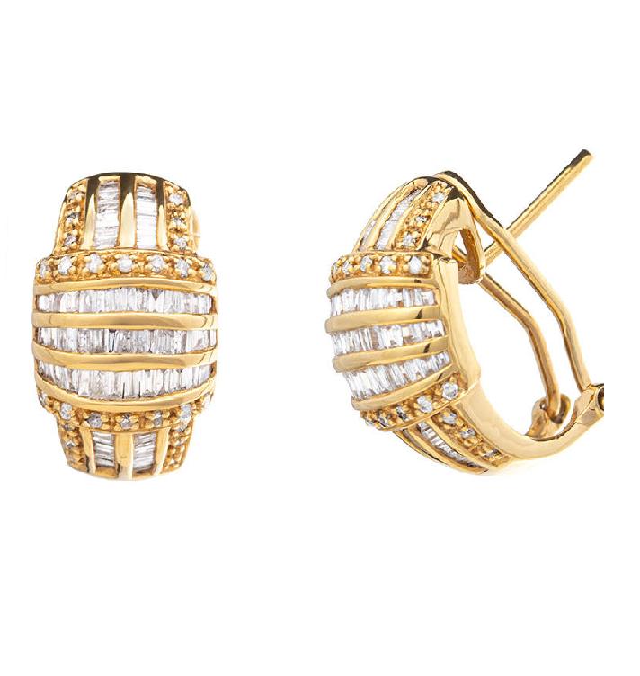 Brinco Cravejado Com Diamantes Ouro Rosê 18k