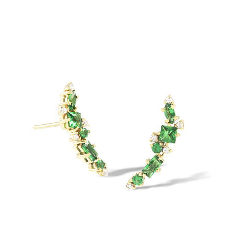 Brinco em Ouro 18k com Esmeraldas e Diamantes