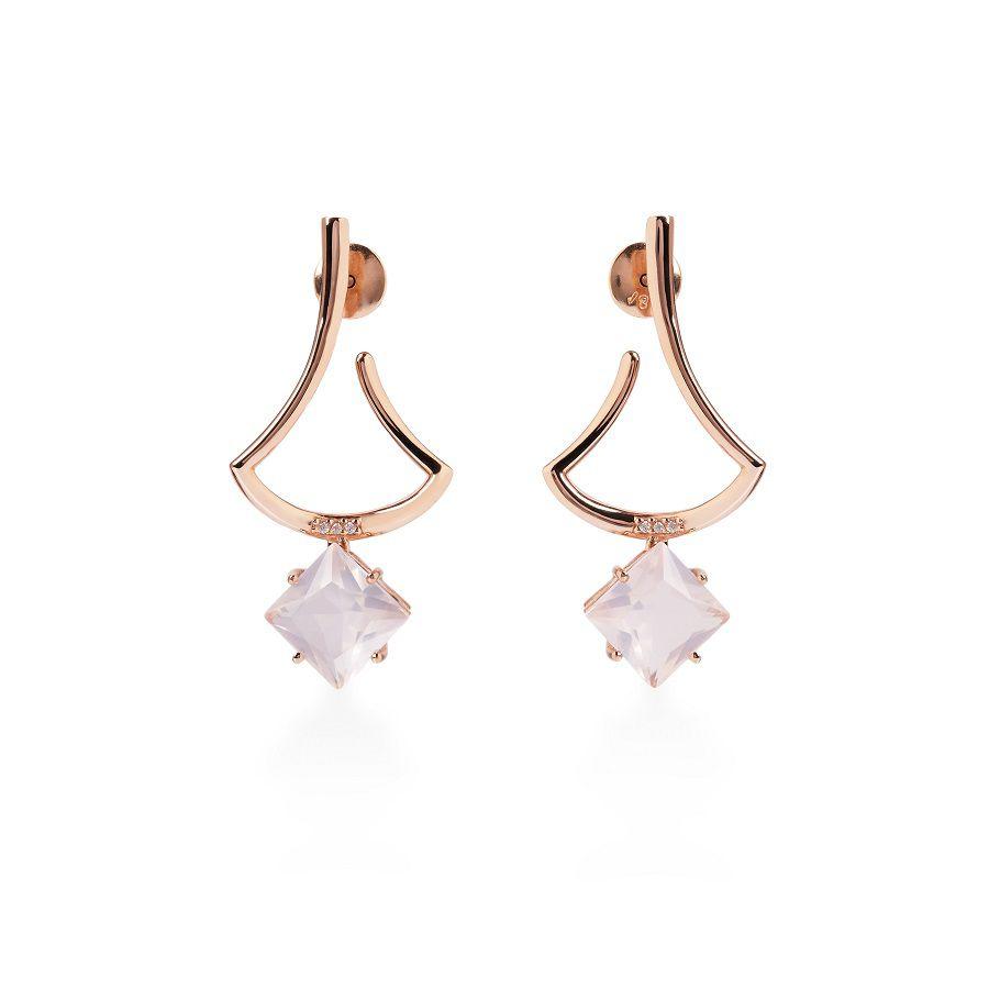 Brinco em Ouro Rosé 18k com Quartzo Rosa e Diamantes