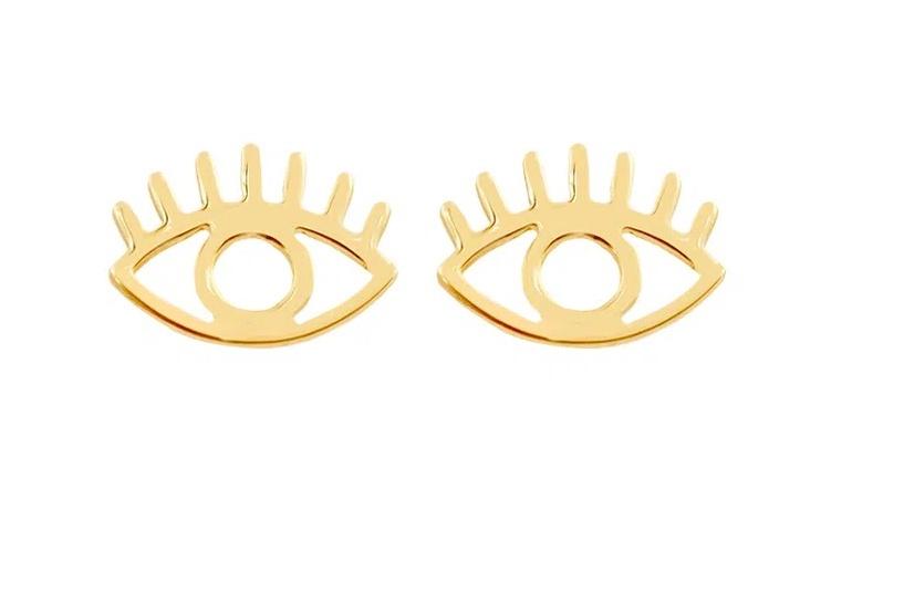 Brinco Olho Grego Em Ouro 18k